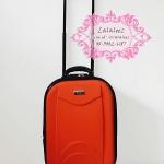 กระเป๋าเดินทางพรีเมี่ยม 16 นิ้ว สีส้ม แบบสองซิป
