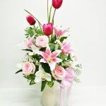 แจกันดอกไม้ประดิษฐ์โทนชมพูใหญ่ รหัส 4004