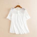 ((พร้อมส่ง))....เสื้อผ้าฝ้ายสีขาวแต่งลูกไม้
