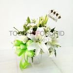 แจกันดอกไม้กุหลาบ-ลิลลี่ขาว