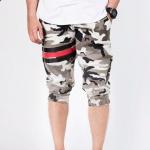 กางเกง Jogger ขาจั๊ม สามส่วน ผ้าวอร์ม WT378 ฺฺBlack Red ลายทหาร แถบดำ แดง
