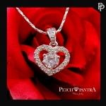 สร้อยจี้เพชรCZ เพชรรัสเซีย รูปหัวใจ