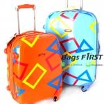 "Polongo กระเป๋าเดินทาง 4 ล้อลาก สีส้ม/ฟ้า ขนาด 20"""