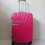 กระเป๋าเดินทางไฟเบอร์ 24 นิ้ว ลายพัดสีชมพู 4 ล้อลาก