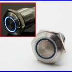 สวิทซ์กดติดปล่อยดับ สวิทช์16มม พร้อมไฟLED สีน้ำเงิน 12V 16mm Angel Eye Metal illuminated LED Push Button Switch Car Dash