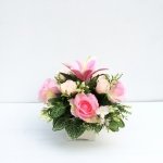 แจกันดอกไม้ประดิษฐ์โทนชมพู รหัส 4017