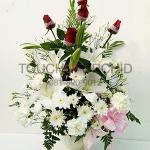 แจกันดอกไม้กุหลาบแดง-ลิลลี่