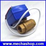 มอเตอ์วาล์วไฟฟ้าสแตนเลส วาล์วปิดเปิดน้ำไฟฟ้า 3/4นิ้ว 6หุน DN15 BSP 2 way brass MINI motorized ball valve , Actuator control valve DC12V CR05 5 wires