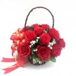 กระเช้าดอกไม้ประดิษฐ์กุหลาบแดง รหัส 4102