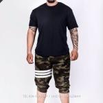 กางเกง Jogger ขาจั๊ม สามส่วน ผ้าวอร์ม WT377 WW ทหารแถบขาว