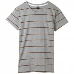 เสื้อยืดคอกลมลายทาง S157 (สีพื้นเทาเส้นน้ำตาล)