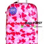 กระเป๋าเดินทาง28นิ้วทรงมนลายหัวใจ เนื้อ PC หนาพิเศษ