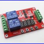 เครื่องตั้งเวลา บอร์ดสำหรับตั้งเวลา 2ช่อง 10A 12V 2Channels Relay Self-lock Cycle Timer Module PLC Home Automation Delay