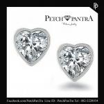 ต่างหูเพชรCZ ต่างหูเพชรรัสเซีย รูปหัวใจ