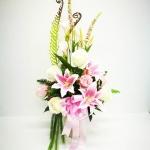 แจกันดอกไม้ประดิษฐ์โทนชมพูขาวใหญ่ รหัส 4005