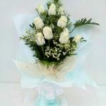 ช่อดอกไม้ กุหลาบขาว 11 ดอก รหัส 1058