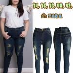 กางเกงยีนส์ไซส์ใหญ่ bigsize ผ้าซาร่า ซิบ สีฟอกสนิมเขียว ขาดหน้าขา ผ้ายืด มี SIZE 34 38 42