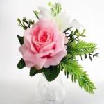 แจกันดอกไม้ประดิษฐ์เล็กกุหลาบชมพู รหัส 4019