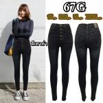กางเกงยีนส์ขาเดฟเอวสูง ยีนส์ยืด กระดุม5เม็ด ฟอกหนวดหน้าขา สีเทาดำ มี SIZE S,M,L,XL