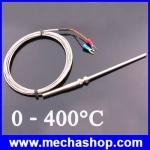 เทอร์โมคัปเปิล สายเครื่องวัดอุณหภูมิ 400องศา 3m Cable Stainless Steel 100mm Probe K type Sensors High Temperature Thermocouple