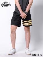 กางเกงขาสั้น พรีเมี่ยมวอร์ม รหัส WT215 G สีดำ แถบทอง