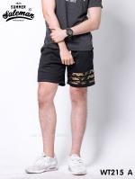 กางเกงขาสั้น พรีเมี่ยมวอร์ม รหัส WT215 A สีดำ แถบทหาร