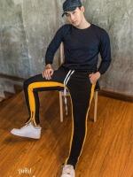 กางเกง ขายาว พรีเมี่ยม ผ้า วอม รหัส W 615 TAX Y ดำแถบเหลือง