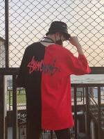 เสื้อยืด Street Fashion Oversize สีแดง ดำ