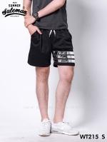 กางเกงขาสั้น พรีเมี่ยมวอร์ม รหัส WT215 S สีดำ แถบเงิน