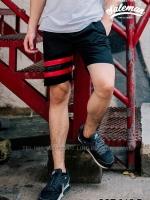 กางเกงขาสั้น พรีเมี่ยม ผ้า COTTON รหัส SST 215 R สีดำ แถบ แดง SUMMER SALE