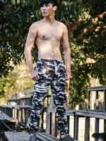 กางเกง jogger ขาจั๊ม ผ้าวอร์ม WT675 ทหารแถบขาว SUMMER SALE