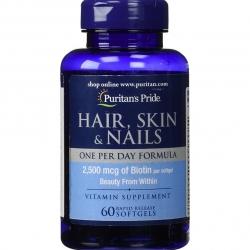 Puritan's Pride Hair Skin & Nail 60 Softgels One Per Day Formula วิตามินบำรุงผม ผิว เล็บ ทานแค่วันละเม็ดค่ะ