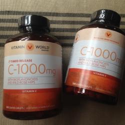 แพคเกจใหม่ล่าสุด ขนาดใหญ่สุด Vitamin World Vitamin C 1000 mg with Citrus Bioflavonoid and Rose hip 250 Tablets มีให้เลือกทั้งรุ่น Time release และรุ่นธรรมดาค่ะ