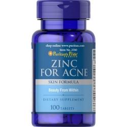 Puritan's Pride Zinc for Acne 100 เม็ด วิตามินช่วยลดสิวและความมันบนใบหน้า จากอเมริกาค่ะ