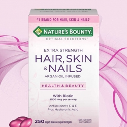Nature's Bounty extra strength HAIR SKIN NAIL 250 เม็ด วิตามินบำรุงผม ผิว เล็บ มี biotin ถึง 5000 mcg plus C, E, Hyaluronic acid ค่ะ