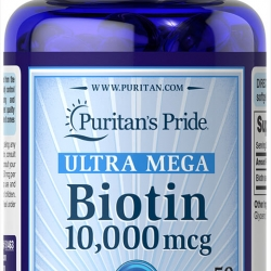Puritan's Pride ULTRA MEGA Biotin 10000 mcg 100 เม็ด วิตามินบำรุงผม ผิว เล็บ ทานเพียงวันละ 1 เม็ดค่ะ