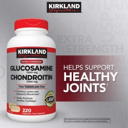 Kirkland Signature Glucosamine HCI 1500mg Chondroitin Sulfate 1200mg 220 Tablets ใหม่ล่าสุดปริมาณเม็ดมากขึ้น