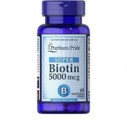 Puritan's Pride SUPER Biotin 5000 mcg. 60 softgels วิตามินบำรุงผม ผิว เล็บ ลดการหลุดร่วงของเส้นผม จากอเมริกาค่ะ