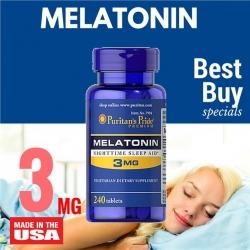 Puritan's Pride Melatonin 3 mg วิตามินคลายเครียด ช่วยให้นอนหลับสบาย หลับได้นานขึ้น จากอเมริกาค่ะ