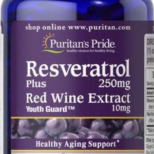 Puritan's Pride Resveratrol แบบเข้มข้น 250 mg plus Red Wine Extract 10 mg. 60 softgels วิตามินฟื้นฟูสภาพผิว ต่อต้านริ้วรอยค่ะ