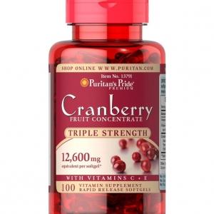Puritan's Pride Cranberry 12,600 mg 100 เม็ด plus C+E Triple strength เข้มข้น 3 เท่า วิตามินบำรุงต่อมลูกหมาก จากอเมริกาค่ะ