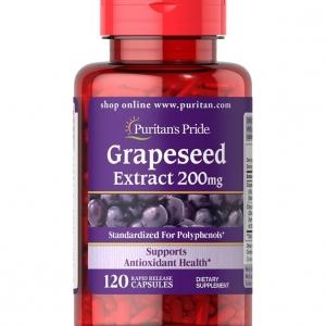 Puritan's Pride Grapeseed Extract 200 mg. 120 เม็ด สูตรเข้มข้น อุดมไปด้วยวิตามิน A และสารต้านอนุมูลอิสระมากมาย จากอเมริกาค่ะ