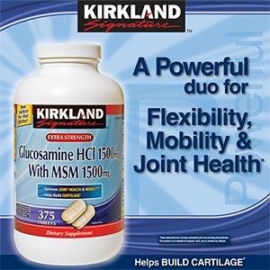 Kirkland Glucosamine 1500 mg.with MSM 1500 mg วิตามินบำรุงข้อขนาด 375 เม็ด ดีมากๆสำหรับผู้ที่มีปัญหาข้อต่อต่างๆตามร่างกายค่ะ