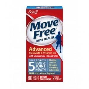 แพคเกจใหม่ล่าสุด Move Free Advance Total Joint Health plus MSM & vitamin D3 วิตามินบำรุงข้อขนาด 80 เม็ด จากอเมริกา