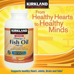Kirkland Fish Oil - 1000 mg Concentrated Fish Oil with 300 mg Omega-3 Fatty Acids Dietary Supplement 400 Softgels จากอเมริกาค่ะ
