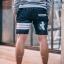 กางเกงขาสั้นยีนส์ Y210 W BIRD สีเทาเข้ม แถบขาว สกรีนรูปนก