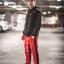 กางเกง ขายาว พรีเมี่ยม ผ้า วอม รหัส W 617TAX B แดงแถบดำ