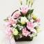 กระเช้าดอกไม้ประดิษฐ์ลิลลี่ชมพู รหัส 4101