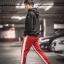 กางเกง ขายาว พรีเมี่ยม ผ้า วอม รหัส W 617 TAX W แดงแถบขาว
