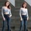 กางเกงยีนส์เอวสูงไซส์ใหญ่ อัดยับ ฟอกหนวด หน้าขา ผ้า ZARA มี SIZE S,M,L,XL 34 36 38 40